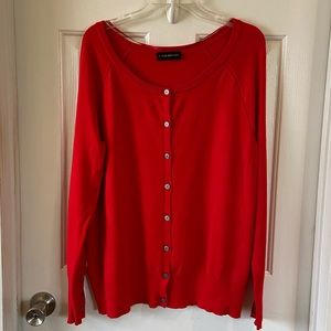 Lane Bryant   Red Button Up Sweater Cardigan Sz 14